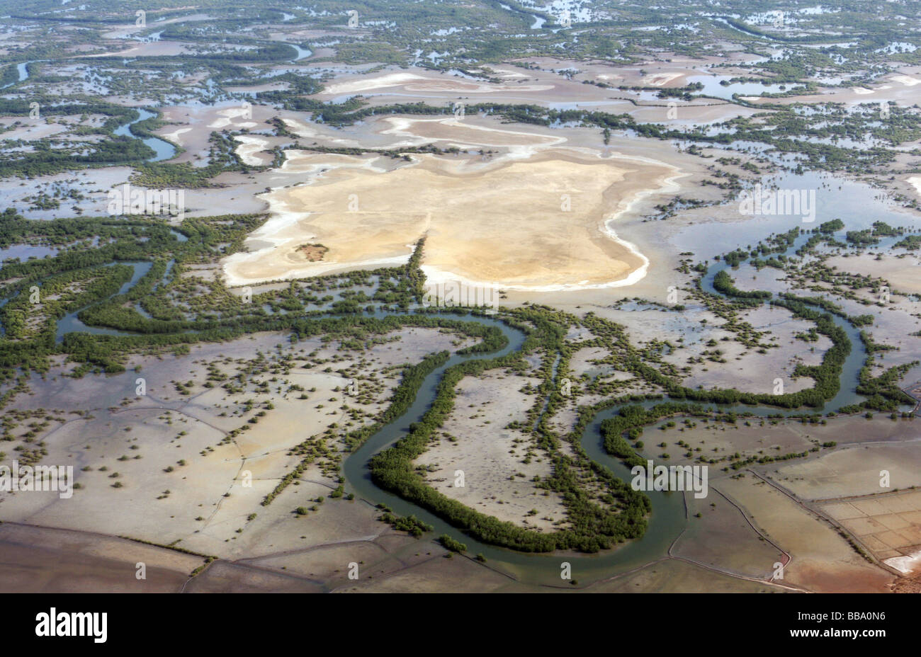 Aerial view of the Casamance River Delta near Ziguinchor, Senegal - Stock Image
