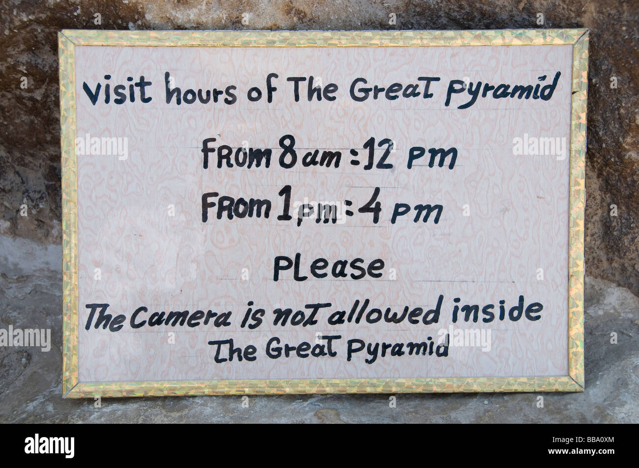 Pyramid Giza Cheops Egypt Cairo  No Photo cameras - Stock Image