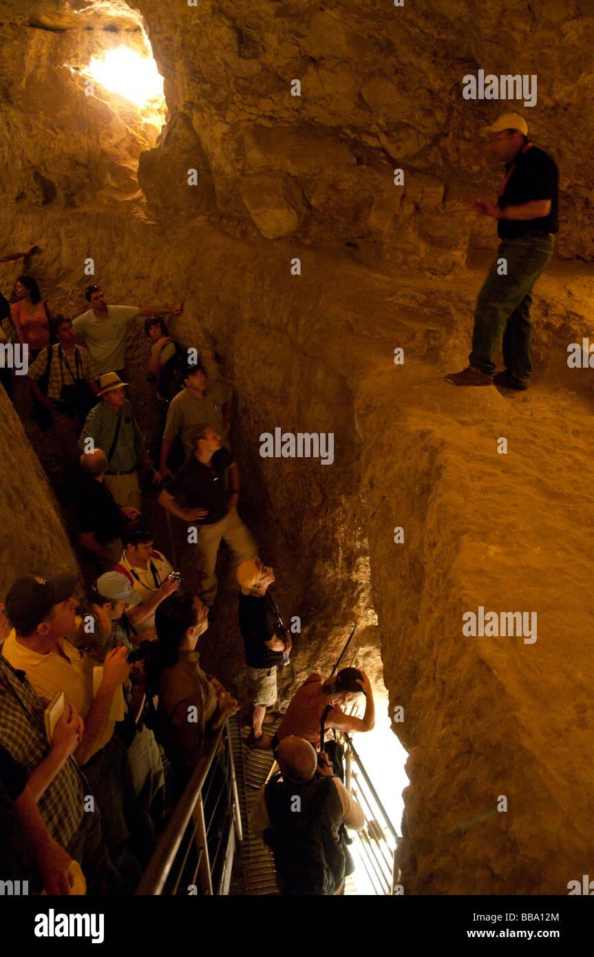 Israel Jerusalem Silwan village City of David national park archeology Warren Shaft - Stock Image