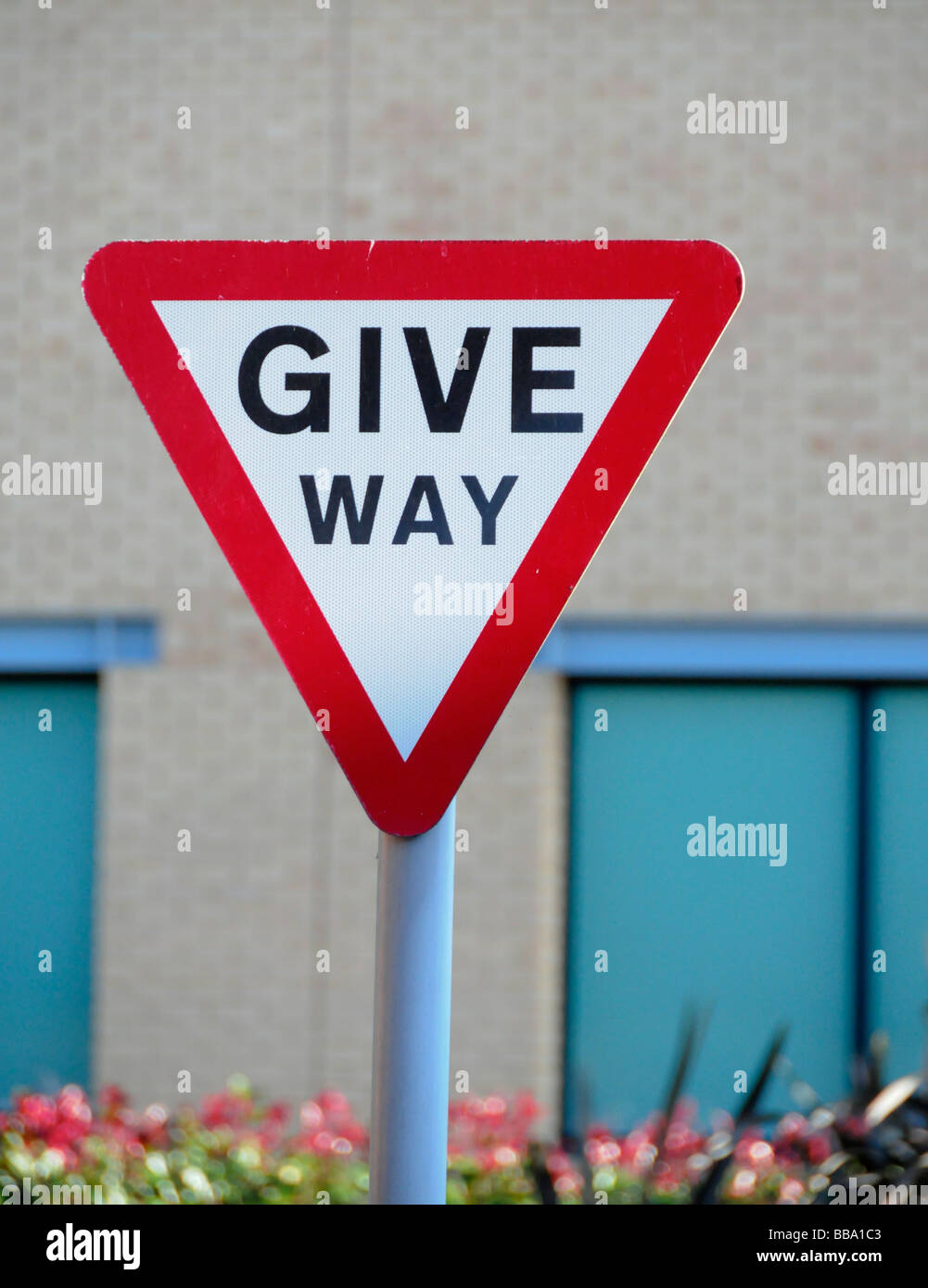 Give Way road sign on Country Lane - Stock Image