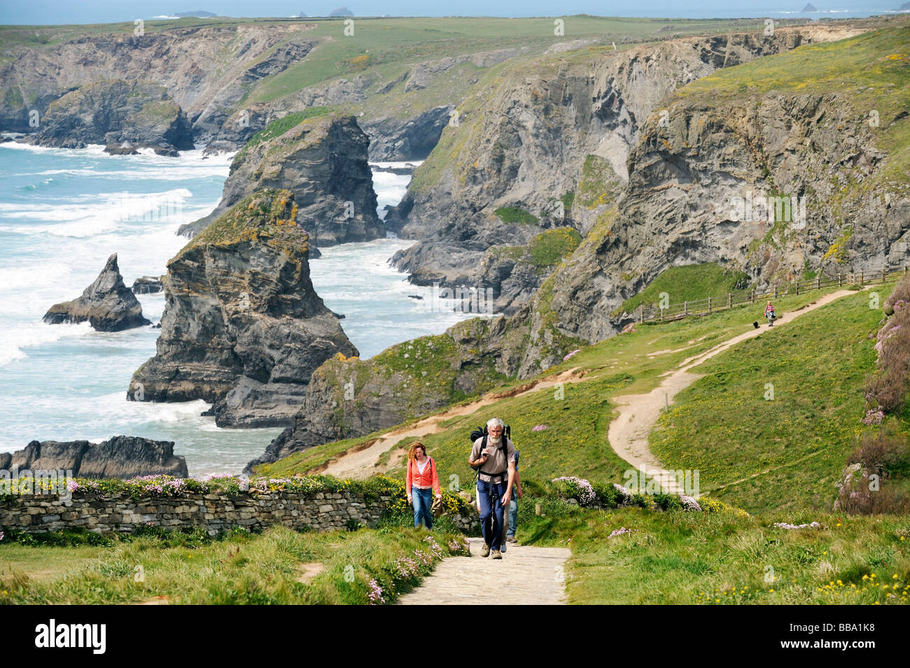 Coast walkers on the South West Coast Path north of Newquay, Cornwall. Backdrop of the sea stacks and cliffs of - Stock Image