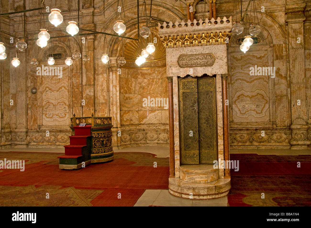 The Mosque of Muhammad Ali Pasha or Alabaster Mosque on the Citadel Cairo Egypt - Stock Image