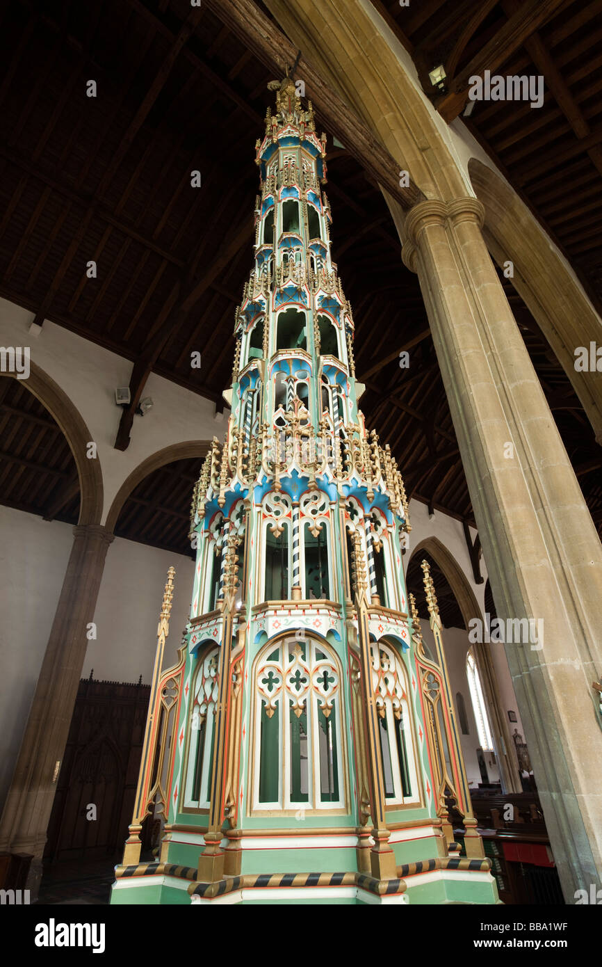 UK England Norfolk North Walsham St Nicholas Parish Church interior elaborate 15th century font cover - Stock Image