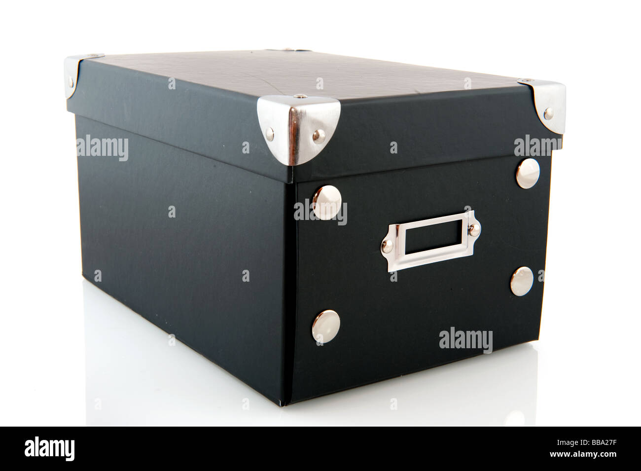 Black box with cover isolated over white - Stock Image
