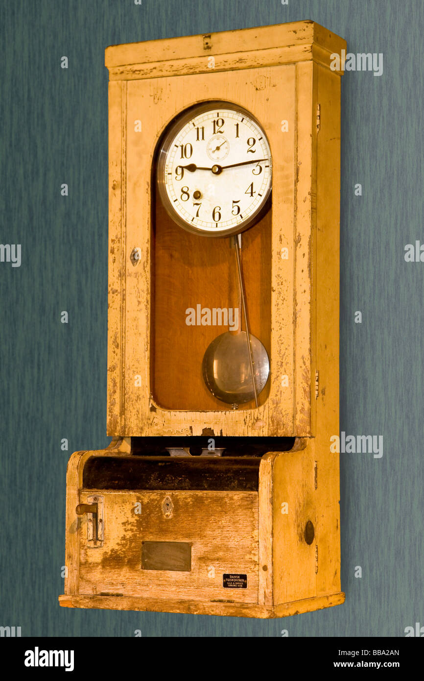 Old time punch clock Stock Photo