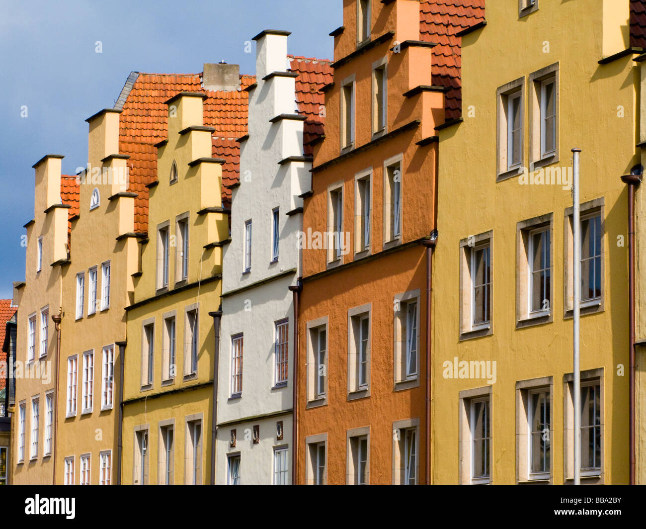Crow stepped gable on house - Stock Image