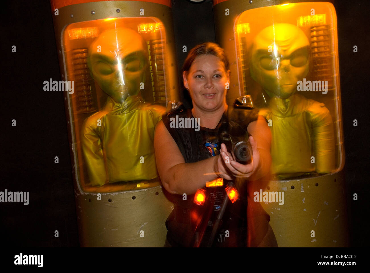 alien laser attack game - Stock Image