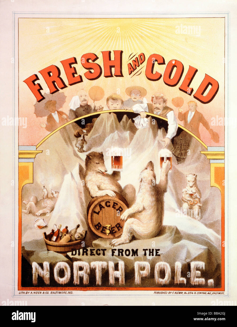 """Late nineteenth century (circa 1877) lithograph poster advertising """"Fresh and cold lager beer direct from the North - Stock Image"""