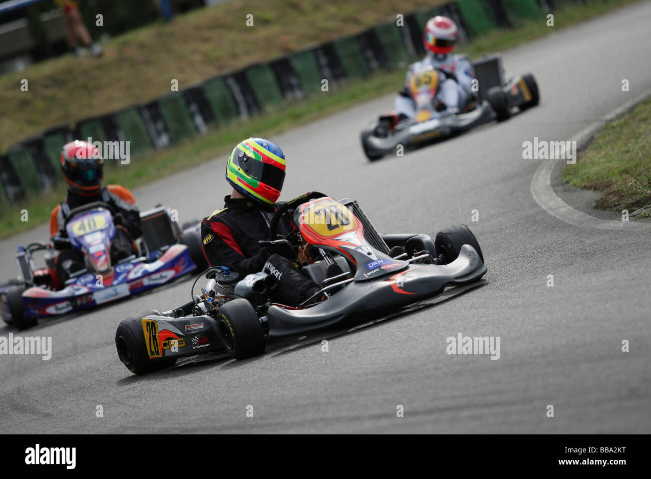Leading trio in a race at the East German Kart championship, Lohsa ...