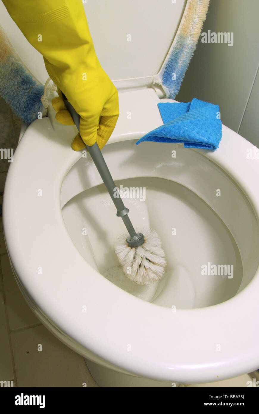 Toilette putzen toilet cleaning 05 Stock Photo