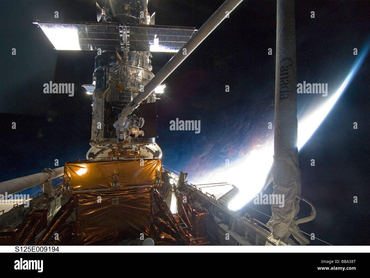 NASA astronaut working on Hubble Telescope Stock Photo