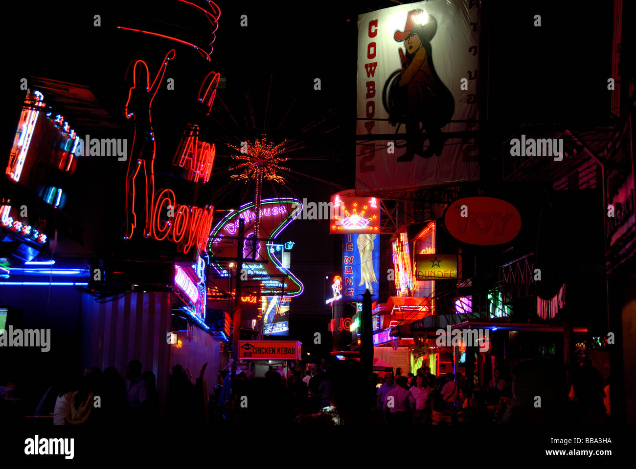 Nightlife, colorful neon signs, red light district Soi Cowboy, Bangkok, Thailand, Southeast Asia - Stock Image