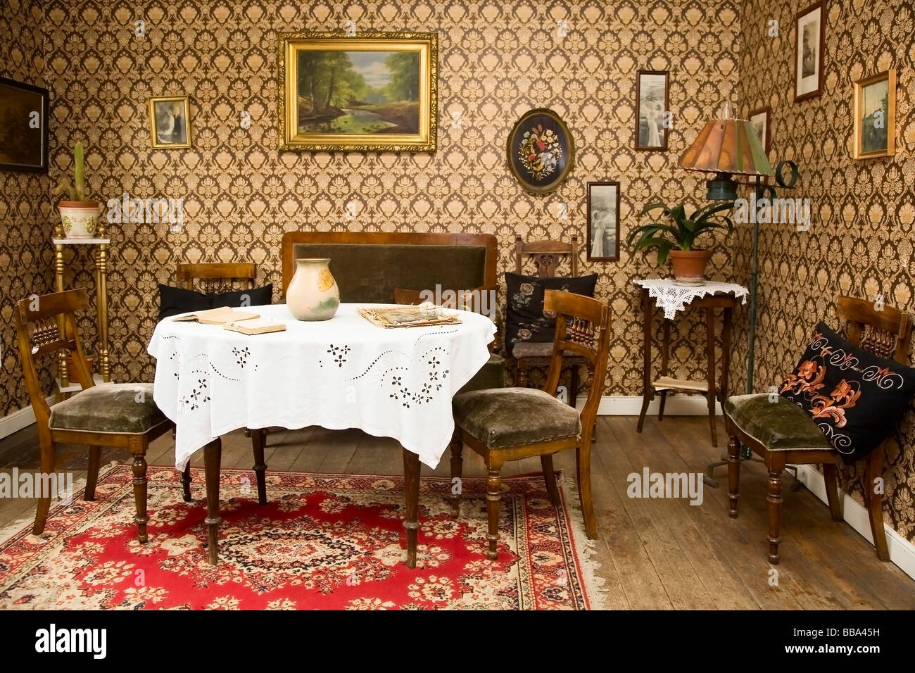Old sitting room interior from the 16s, Denmark, Europe Stock