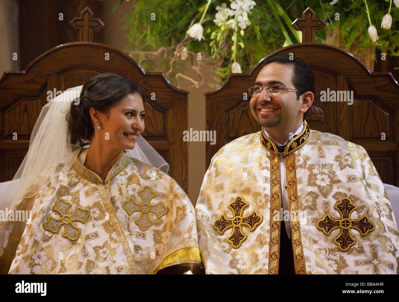 bride and groom at Coptic wedding in Cairo, Egypt - Stock Image