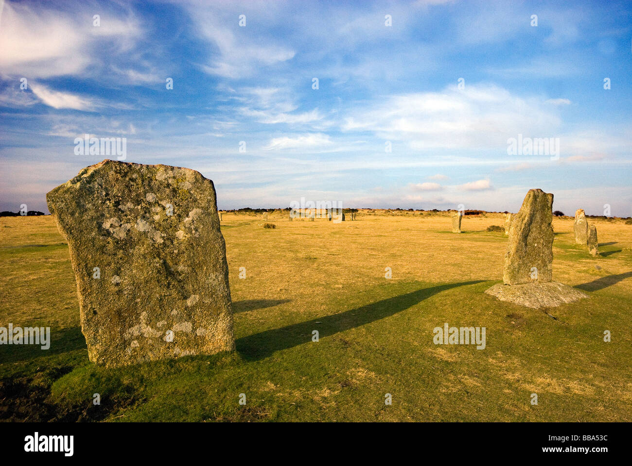 The Hurlers on Bodmin Moor near  Minions Cornwall - Stock Image