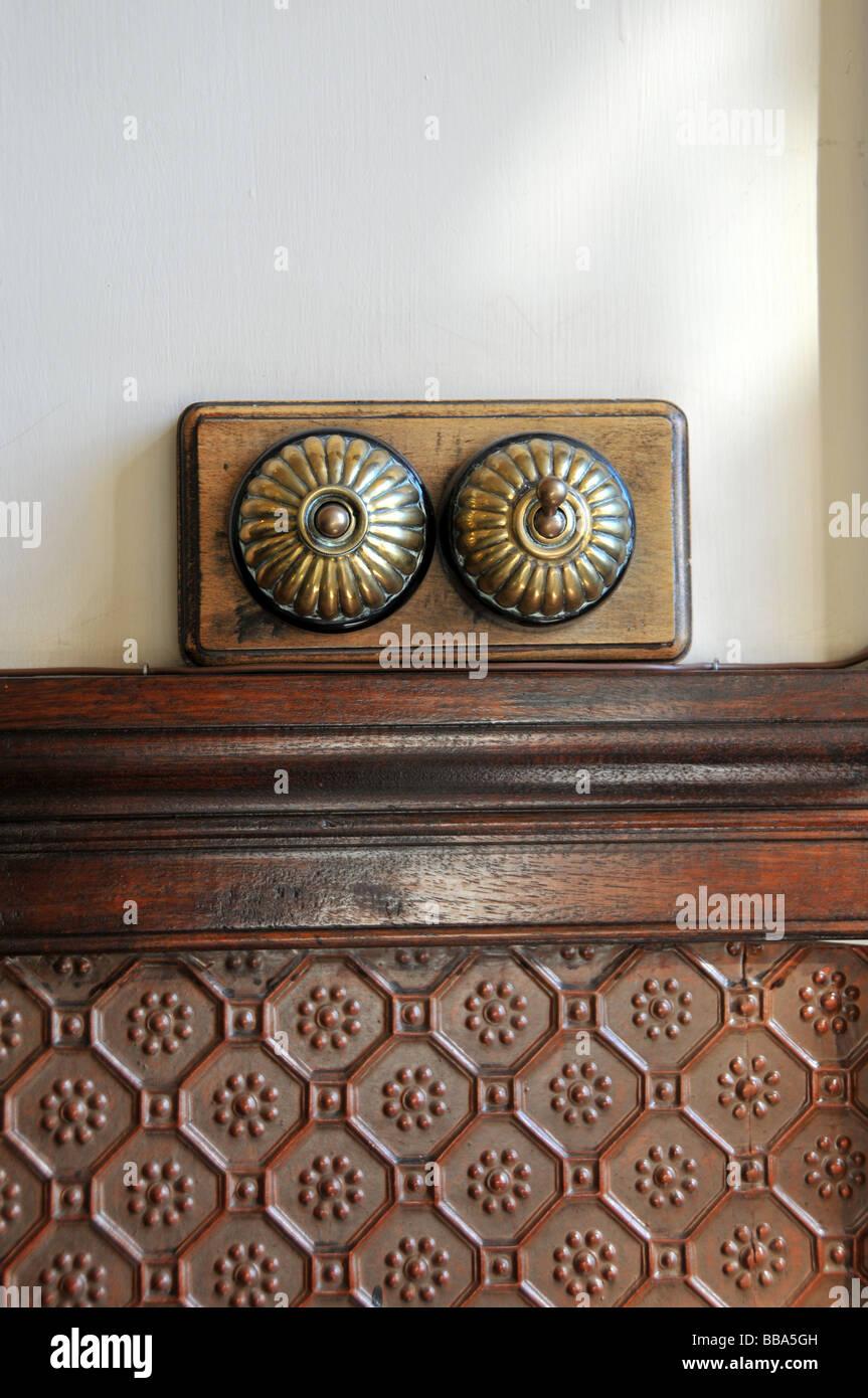 Antique Brass Light Switch On Wood Panel Stock Photo Alamy