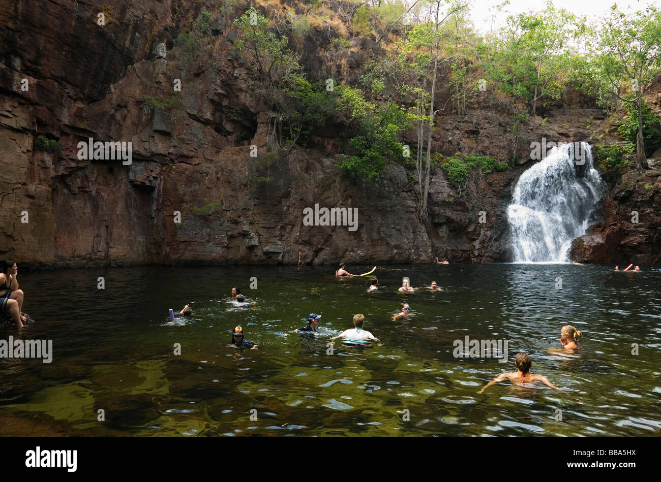Swimmers at Florence Falls in Litchfield National Park, Northern Territory, AUSTRALIA - Stock Image