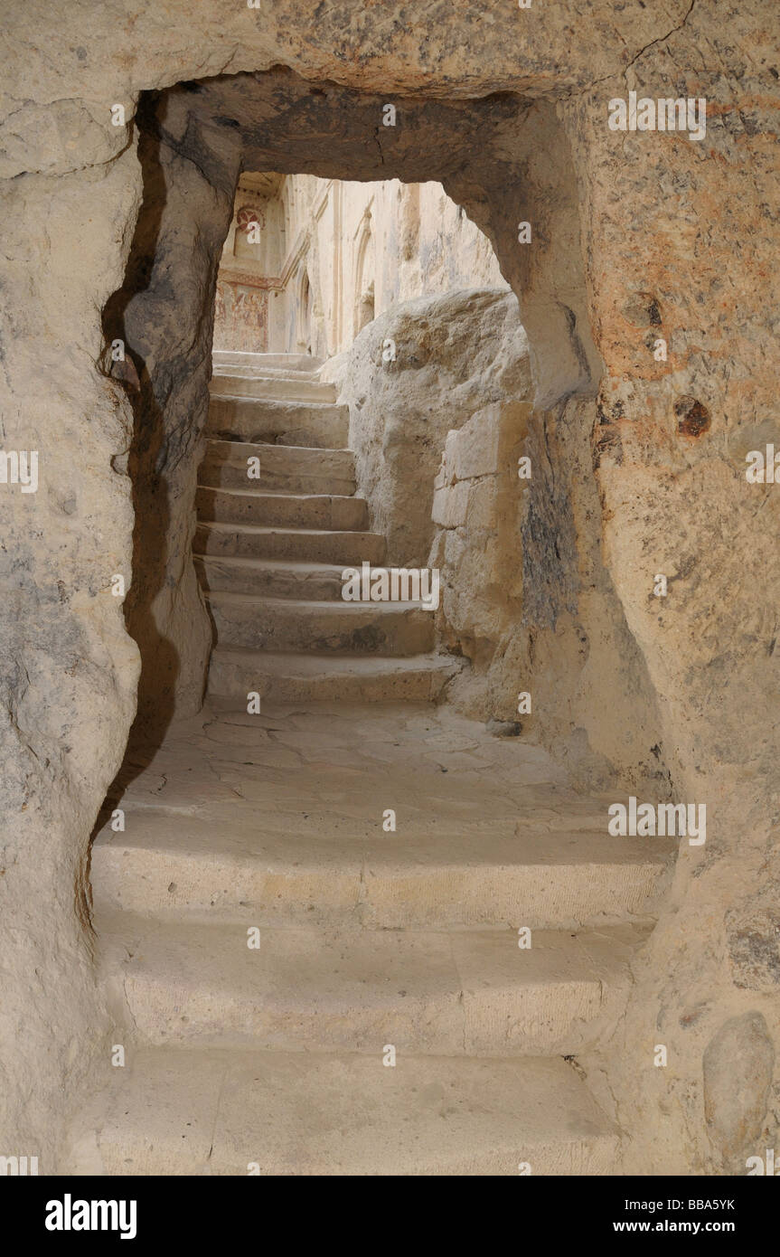 The Goreme Open Air Museum in Cappadocia, Turkey, has churches dating from A.D. 900 to 1200 hollowed in soft, volcanic - Stock Image