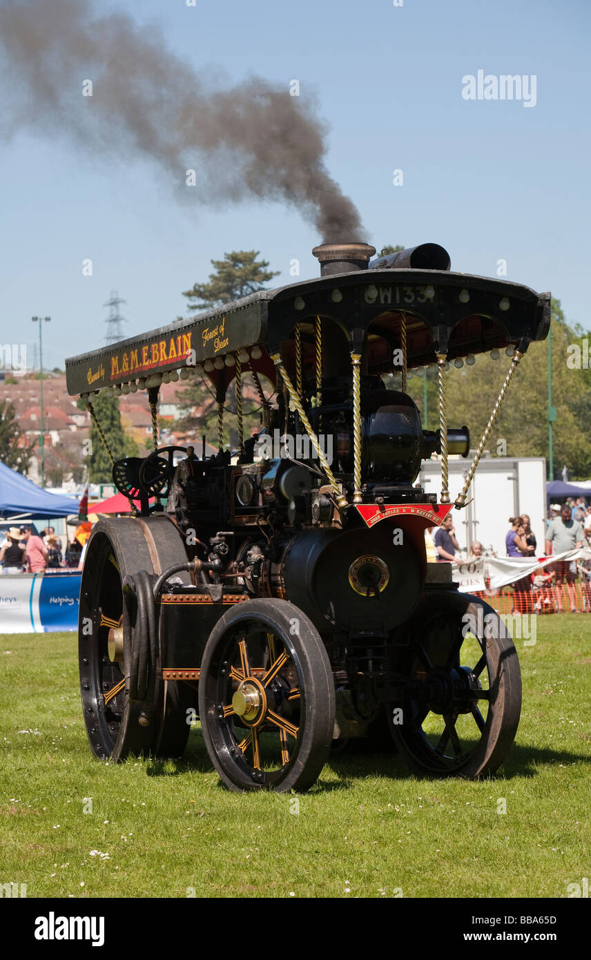 Steam traction engine at steam fair Abergavenny Wales UK - Stock Image