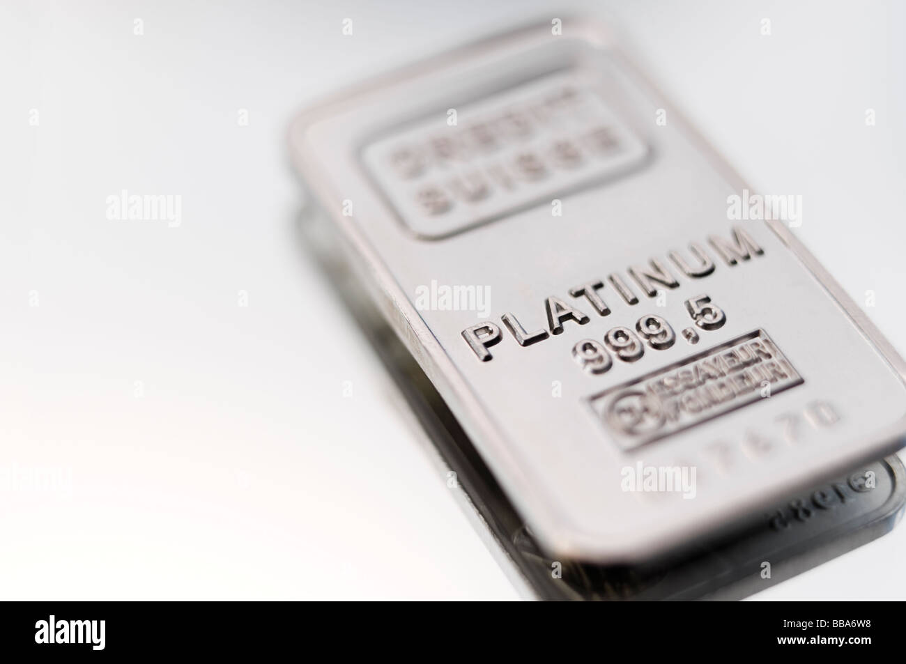 Small bar or ingot of Platinum Bullion - Stock Image