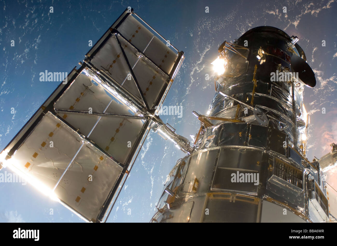 NASA Hubble Telescope during service mission - Stock Image