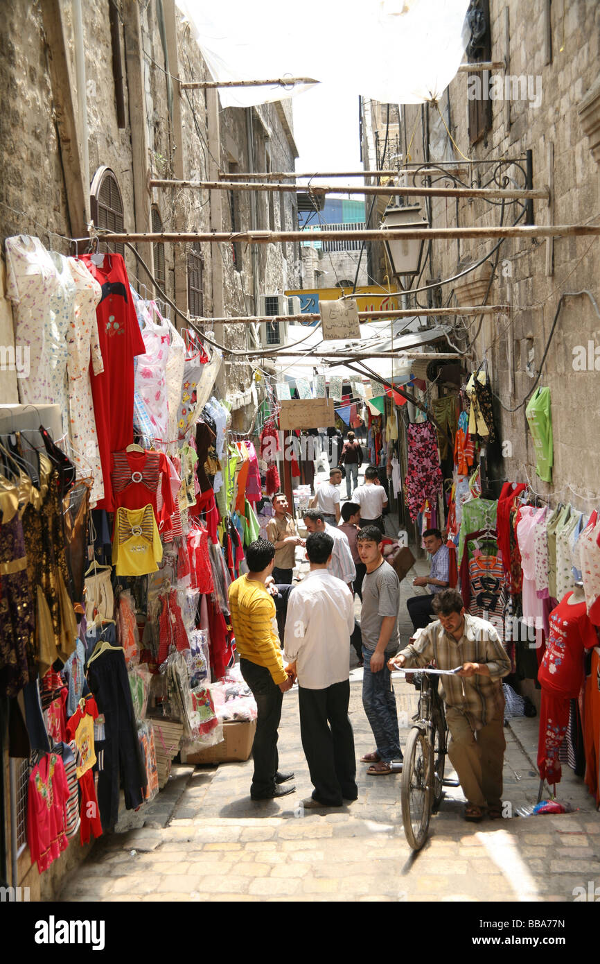 Street outside the old Souq Aleppo Syria Stock Photo