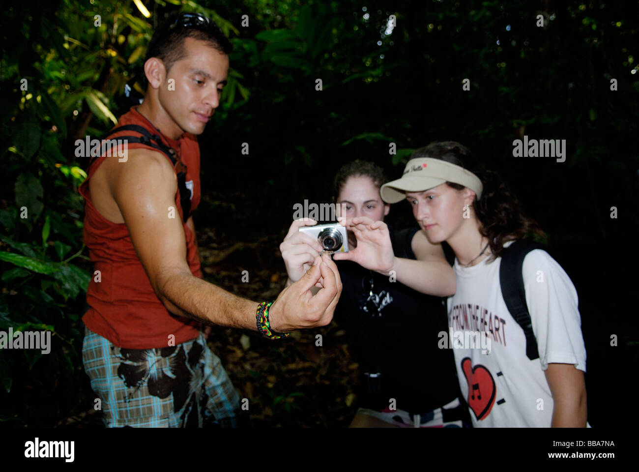 A guide showing students a rainforest frog Corcovado National Park Costa Rica - Stock Image