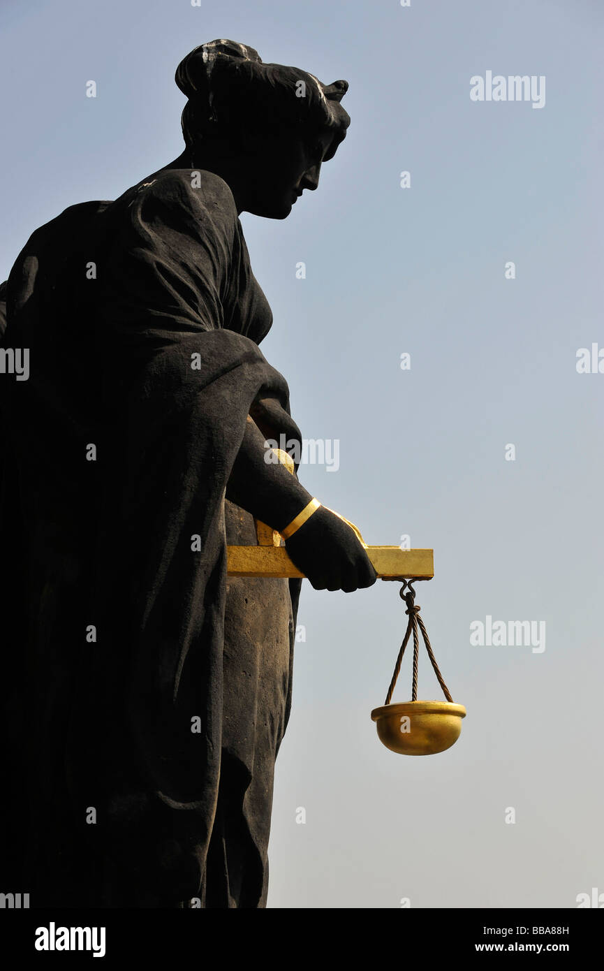 Virtue Justice, statue by Bruno Fischer on the tower of the Town Hall, Dresden, Free State of Saxony, Germany, Europe - Stock Image