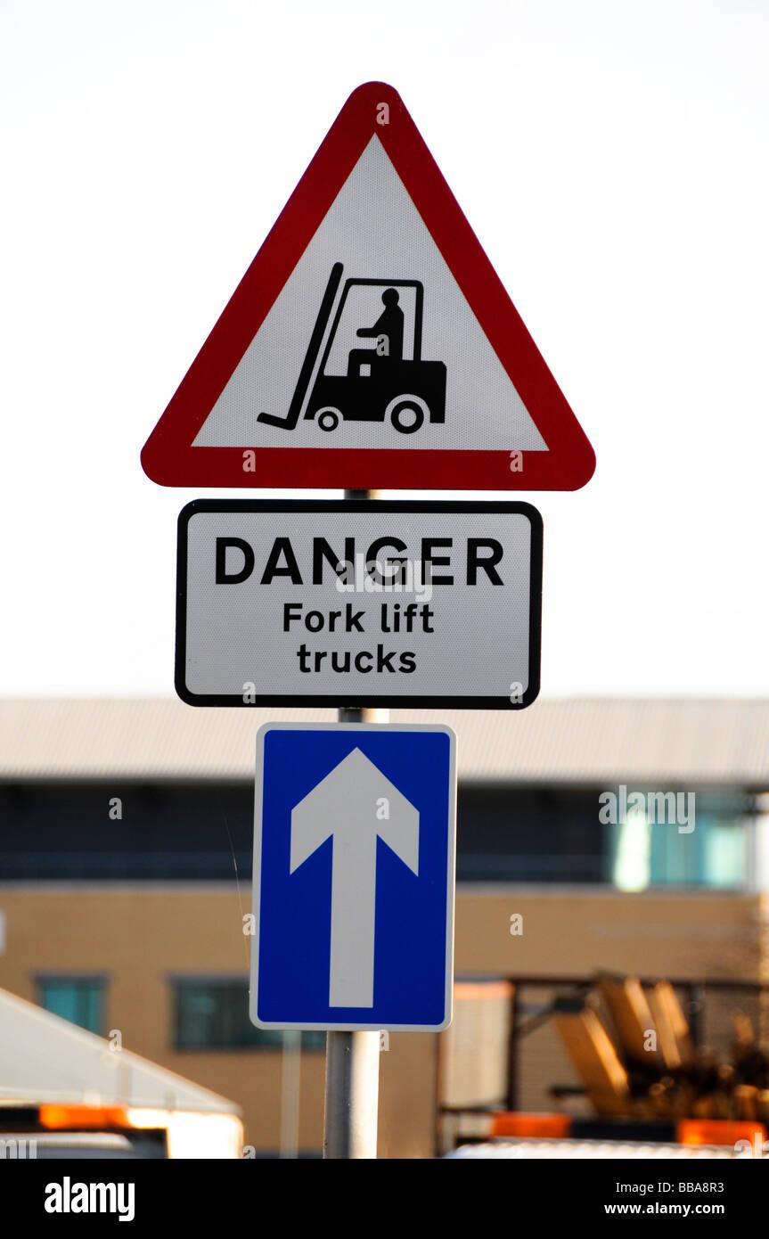 Fork Lift Trucks Operating Danger Notice - Stock Image