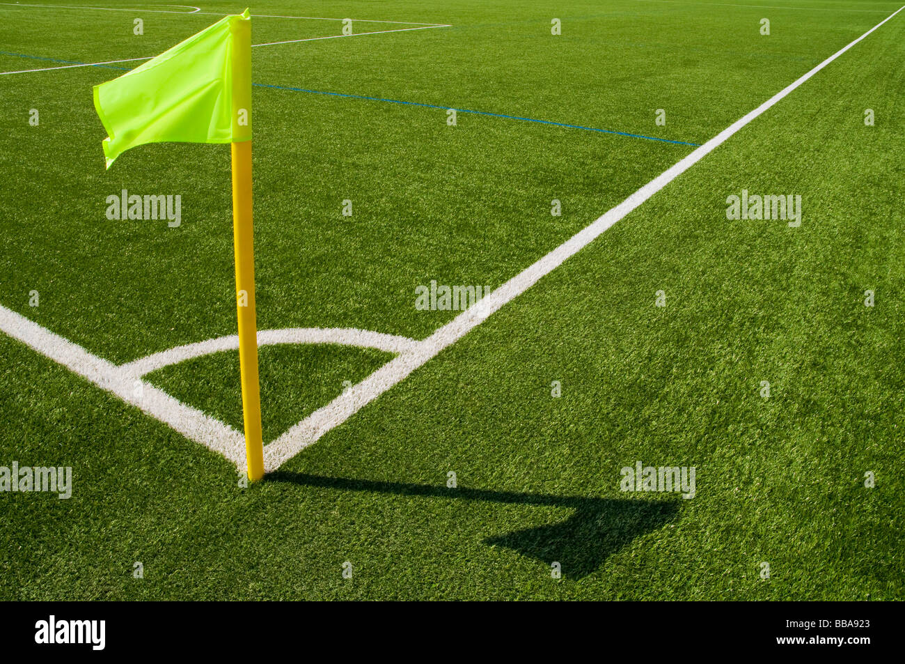 Corner flag in a football stadium - Stock Image