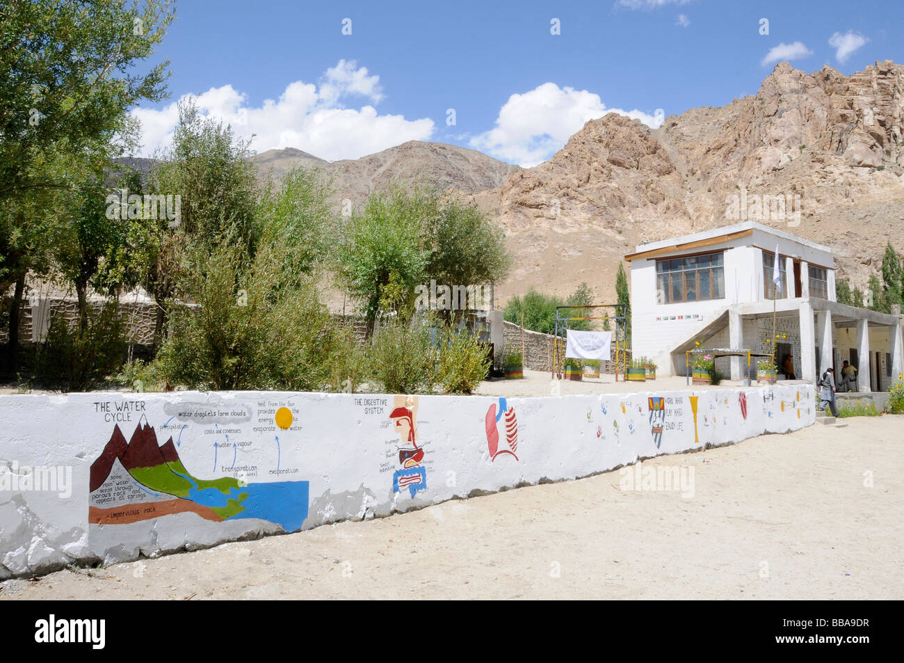 Schoolyard in Phiyang, the walls painted with murals with informative charts, Ladakh, India, Himalayas, Asia Stock Photo