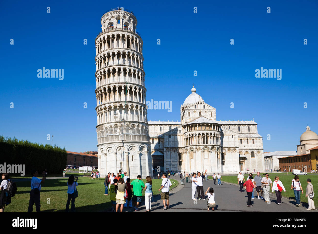 Leaning Tower of Pisa with Cathedral of Santa Maria Assunta, Piazza dei Miracoli, Tuscany, Italy, Europe Stock Photo