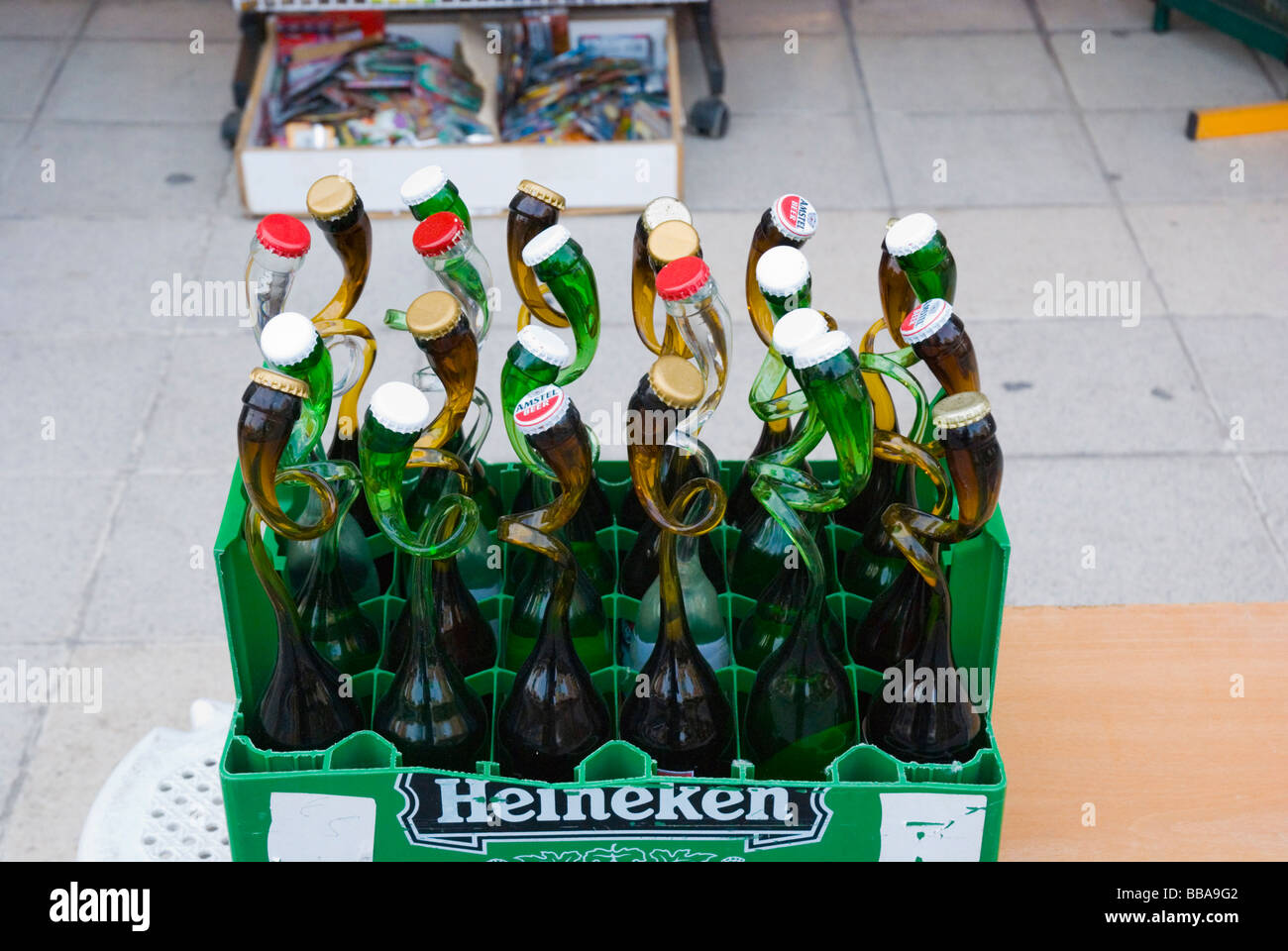 Beer bottle with twisted necks in old town Hania Crete Greece Europe - Stock Image