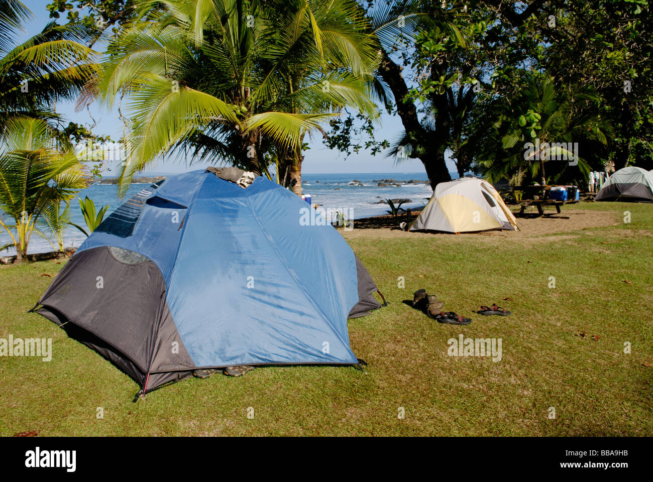 Camping in Corcovado National Park on the Osa Peninsula Costa Rica - Stock Image