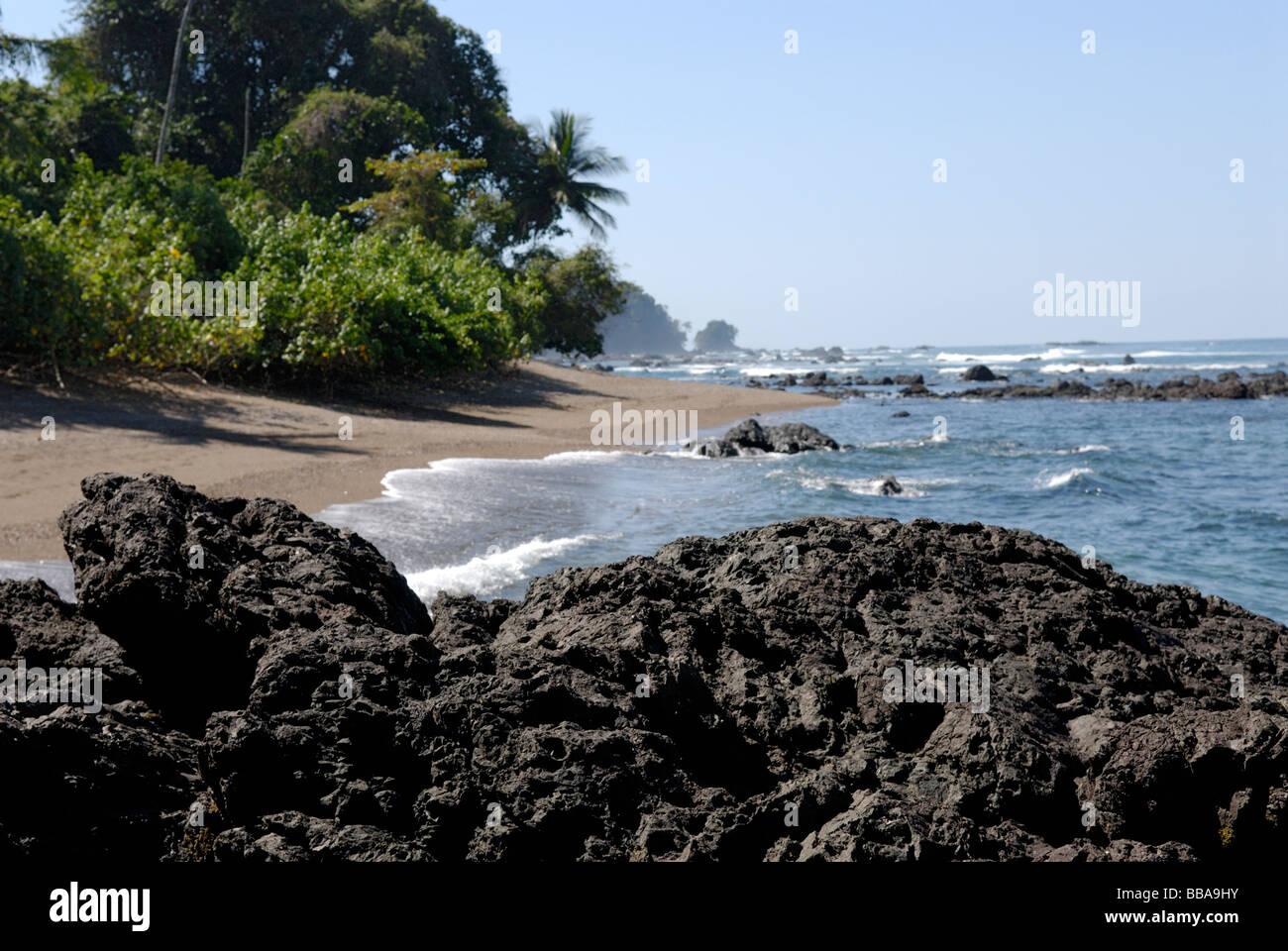 Beach Corcovado National Park on the Osa Peninsula Costa Rica - Stock Image