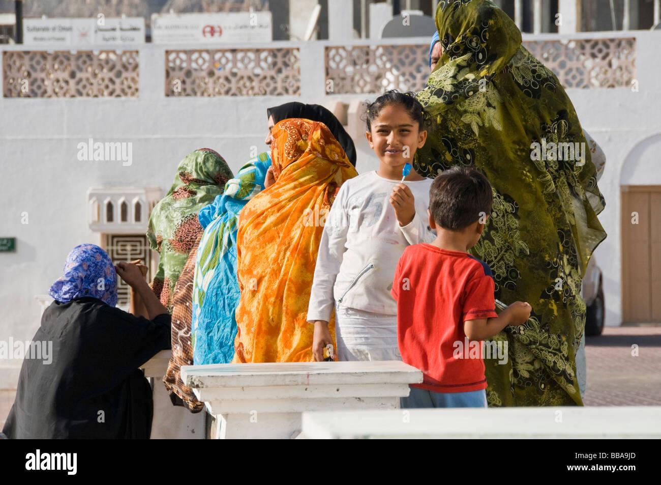 Women and children Muscat Oman - Stock Image
