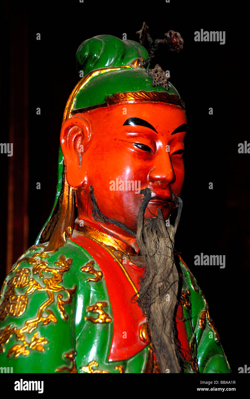 Buddhism, Confucianism, figure with green coat and long beard, Ngoc Son Temple, Hanoi, Vietnam, Southeast Asia, - Stock Image