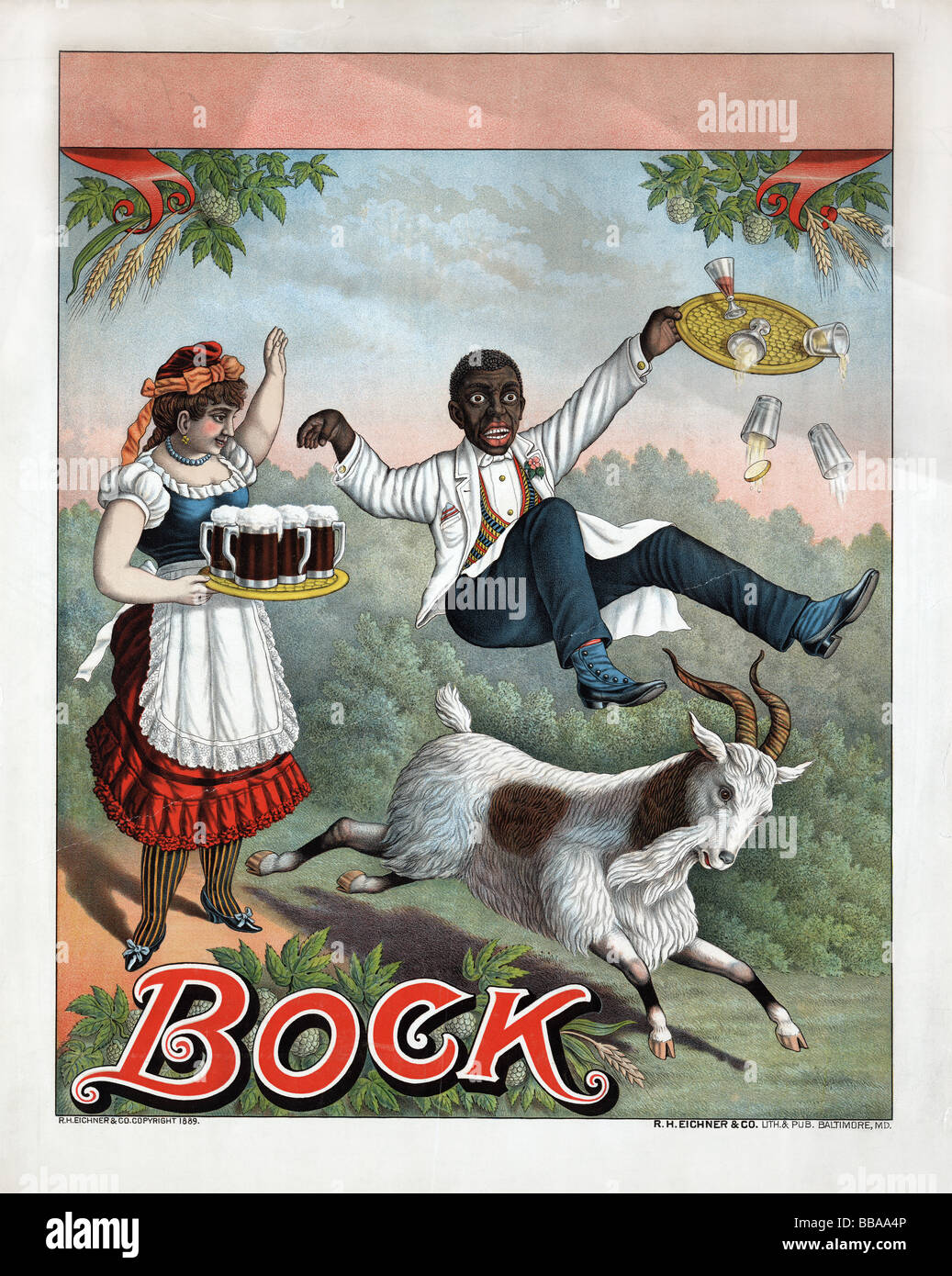 Late nineteenth century (circa 1889) lithograph poster advertising Bock Beer. - Stock Image