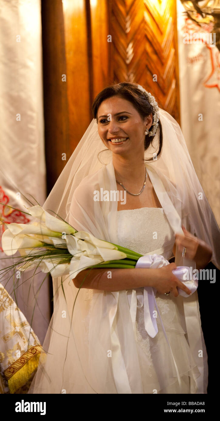 bride at Coptic wedding in Cairo, Egypt - Stock Image