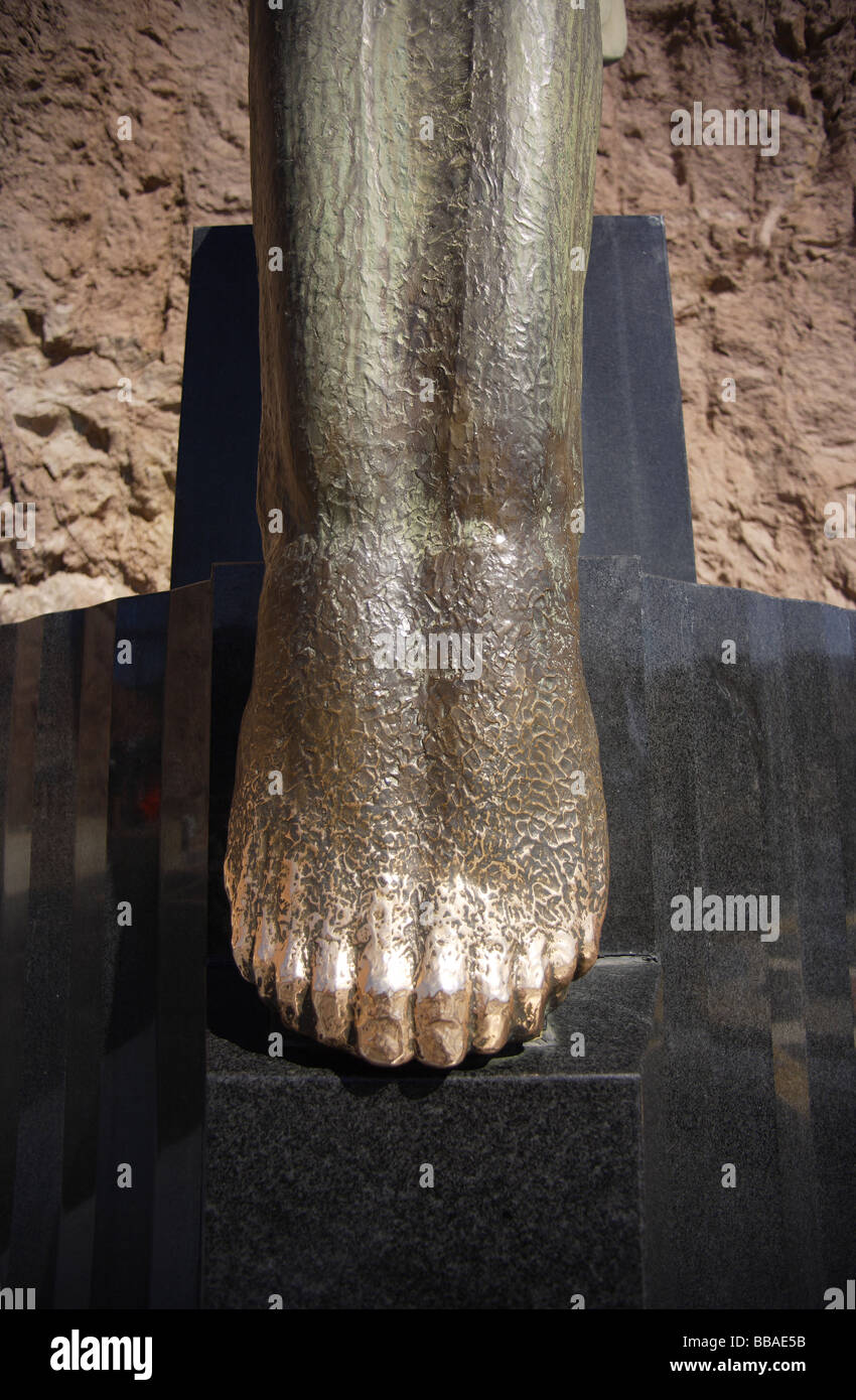 angels feet,bronze detail,hoover dam,hand burnished over time. - Stock Image