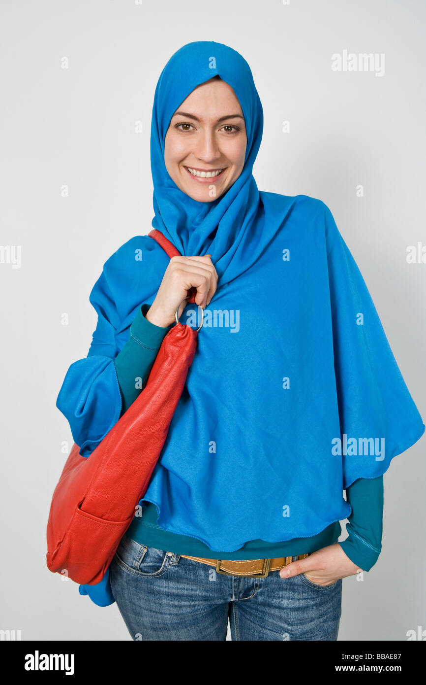 Portrait of a fashionable woman wearing a Hijab - Stock Image
