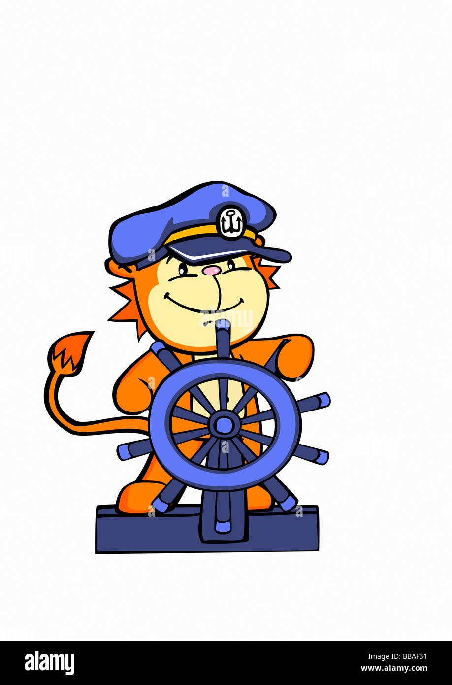 A lion sea captain steering a ship's helm - Stock Image