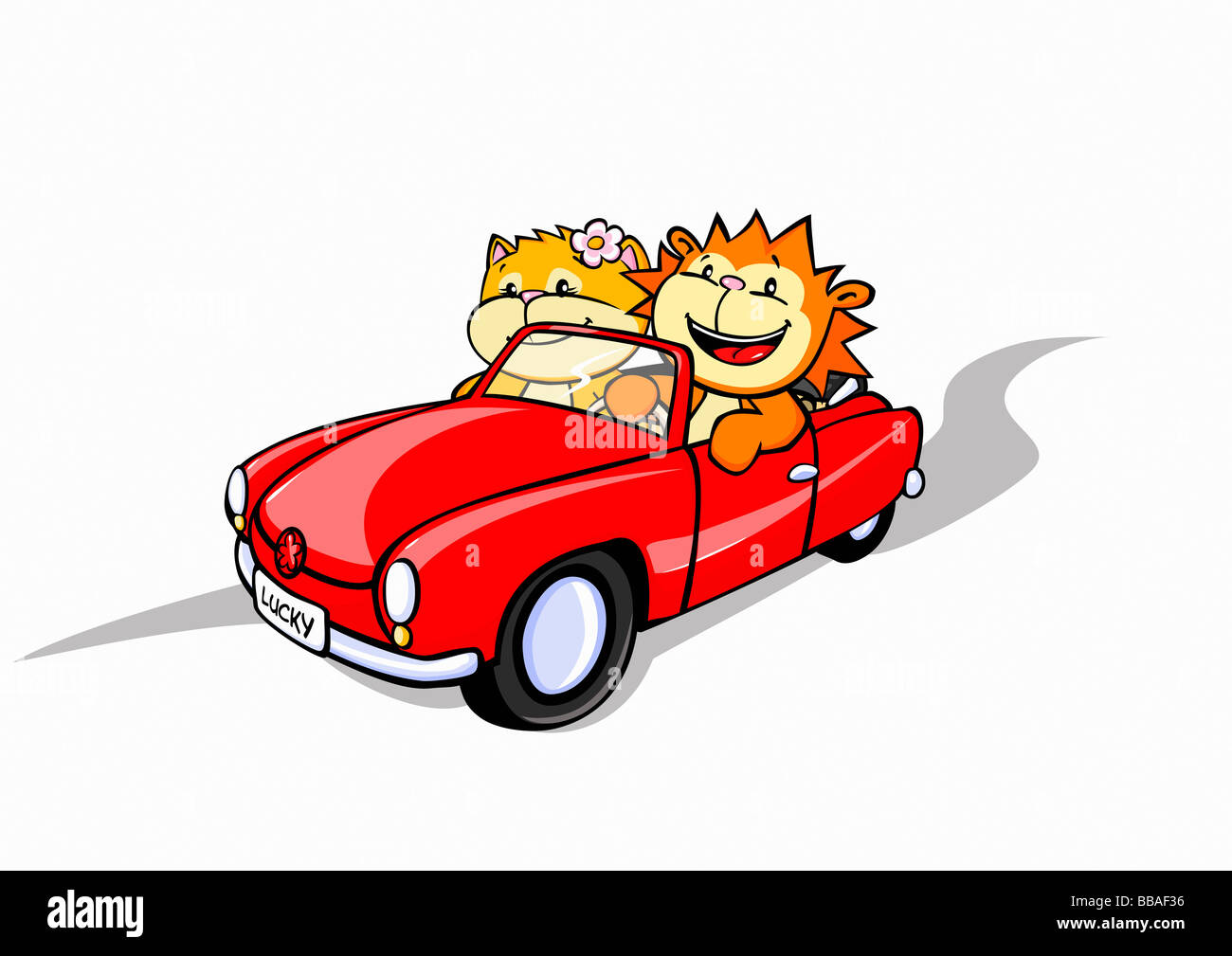 A lion and a cat in a convertible car - Stock Image