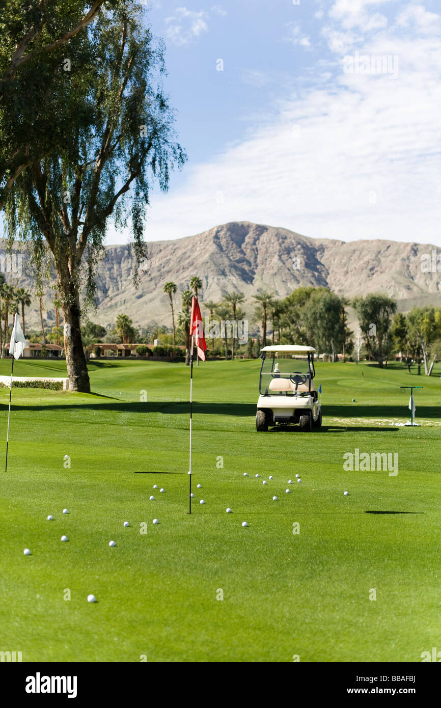 View across putting green, Palm Springs, California, USA - Stock Image