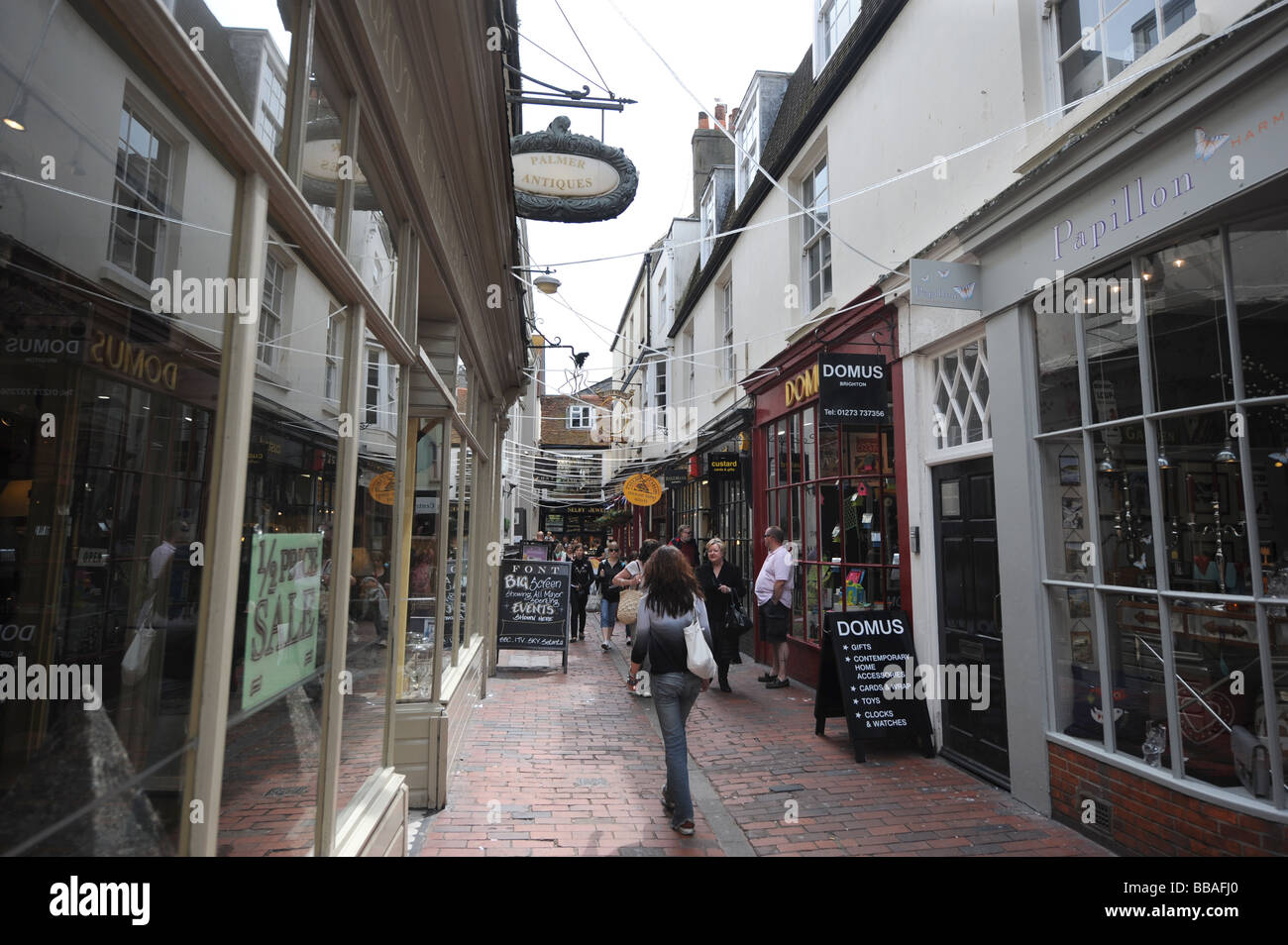 The famous Lanes shopping area in Brighton city centre well known for antiques and jewellery - Stock Image