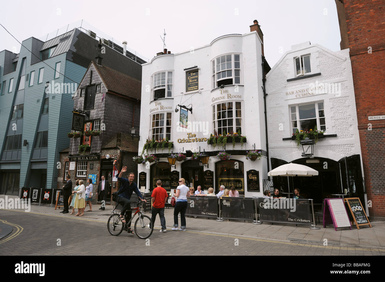 The Cricketers and Black Lion pubs in the Lanes area of Brighton - Stock Image