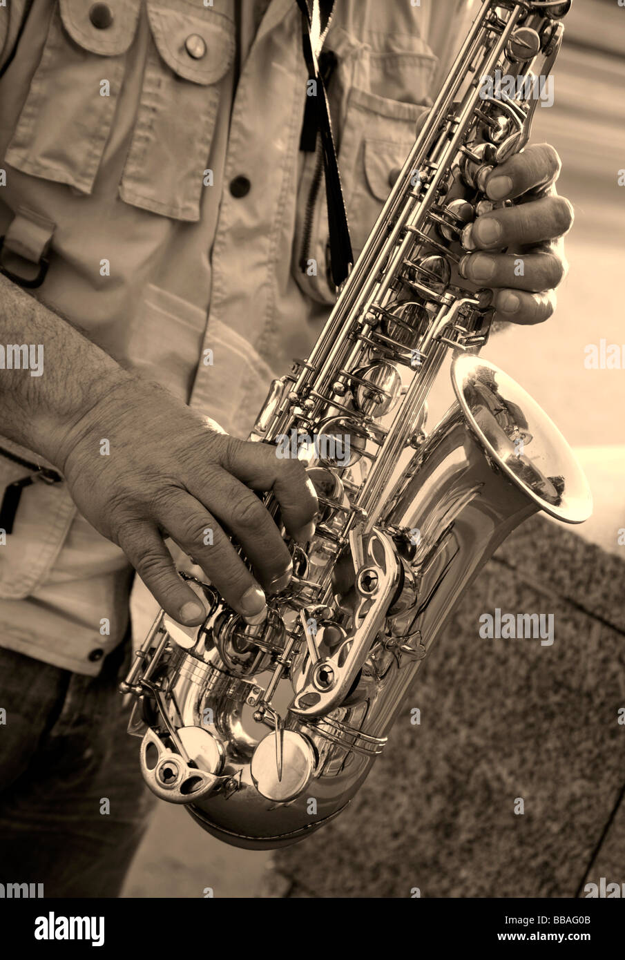 hands of saxophone player - Stock Image