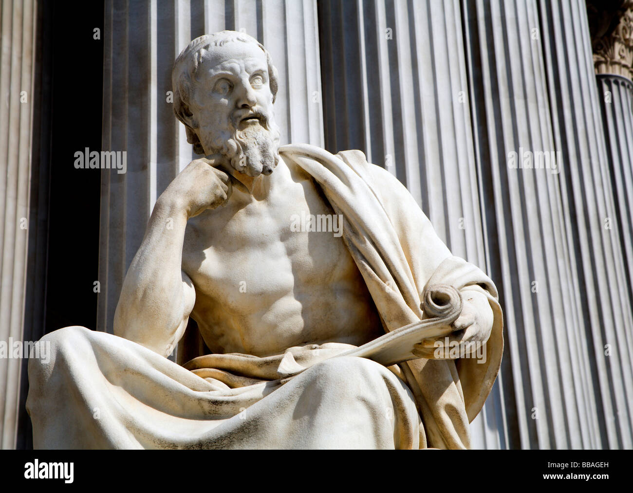 Vienna - Herodot philosopher statue for the parliament - Stock Image