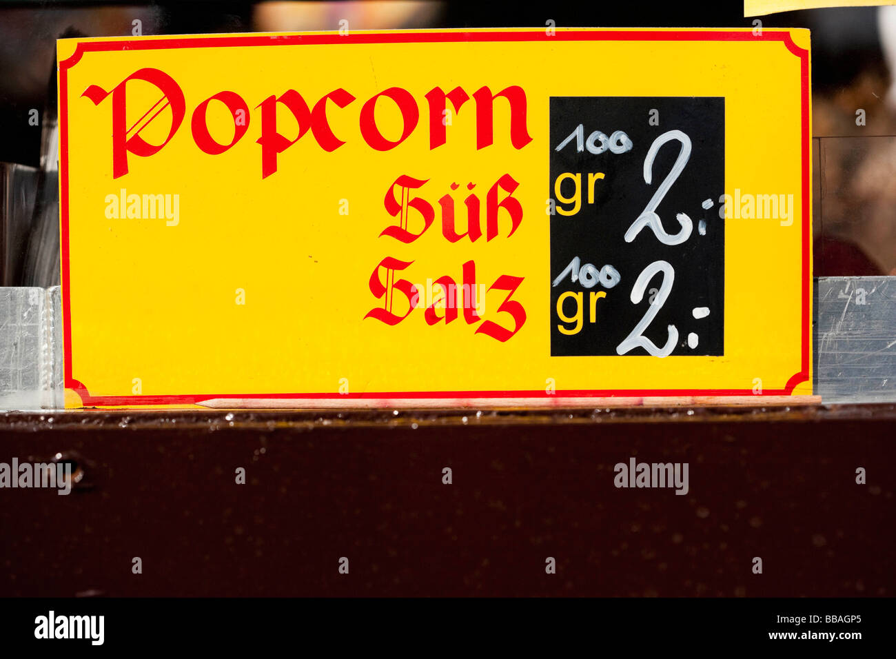 price board popcorn - Stock Image