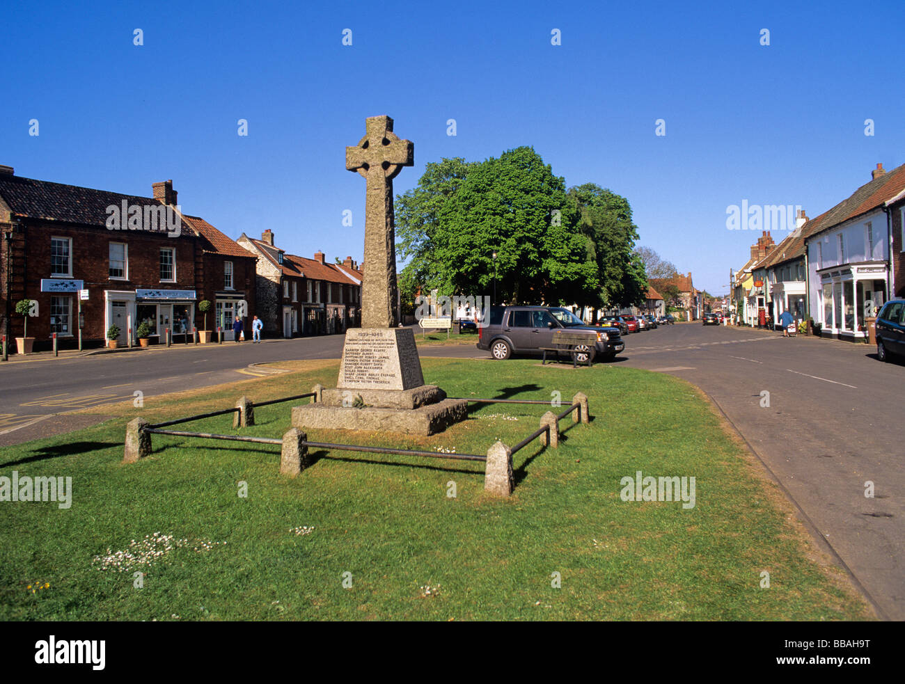 Upmarket Shops in the centre of the North Norfolk Village of Burnham Market sometimes known as Chelsea by the Sea - Stock Image